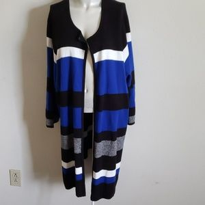 Kasper Long Open Front Stripped Cardigan 3X